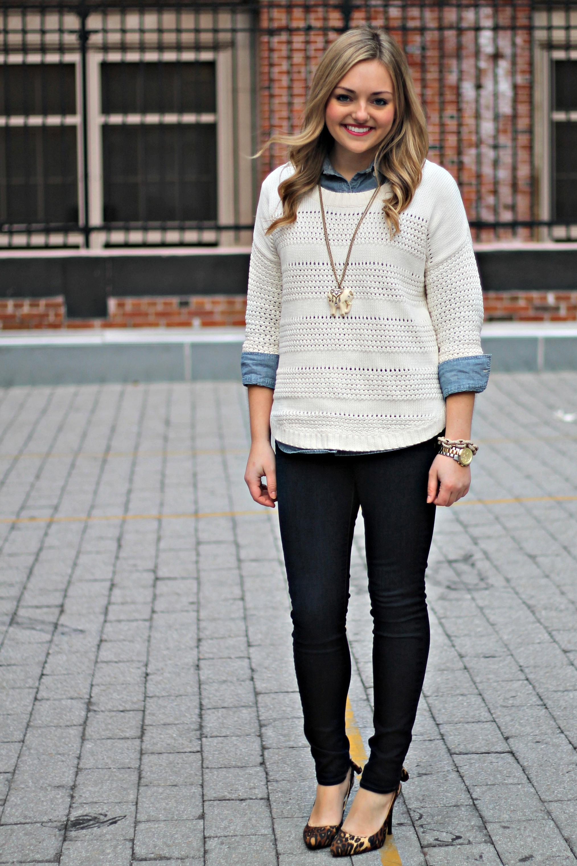 White Sweater Chambray Shirt Dark Denim Bows Sequins