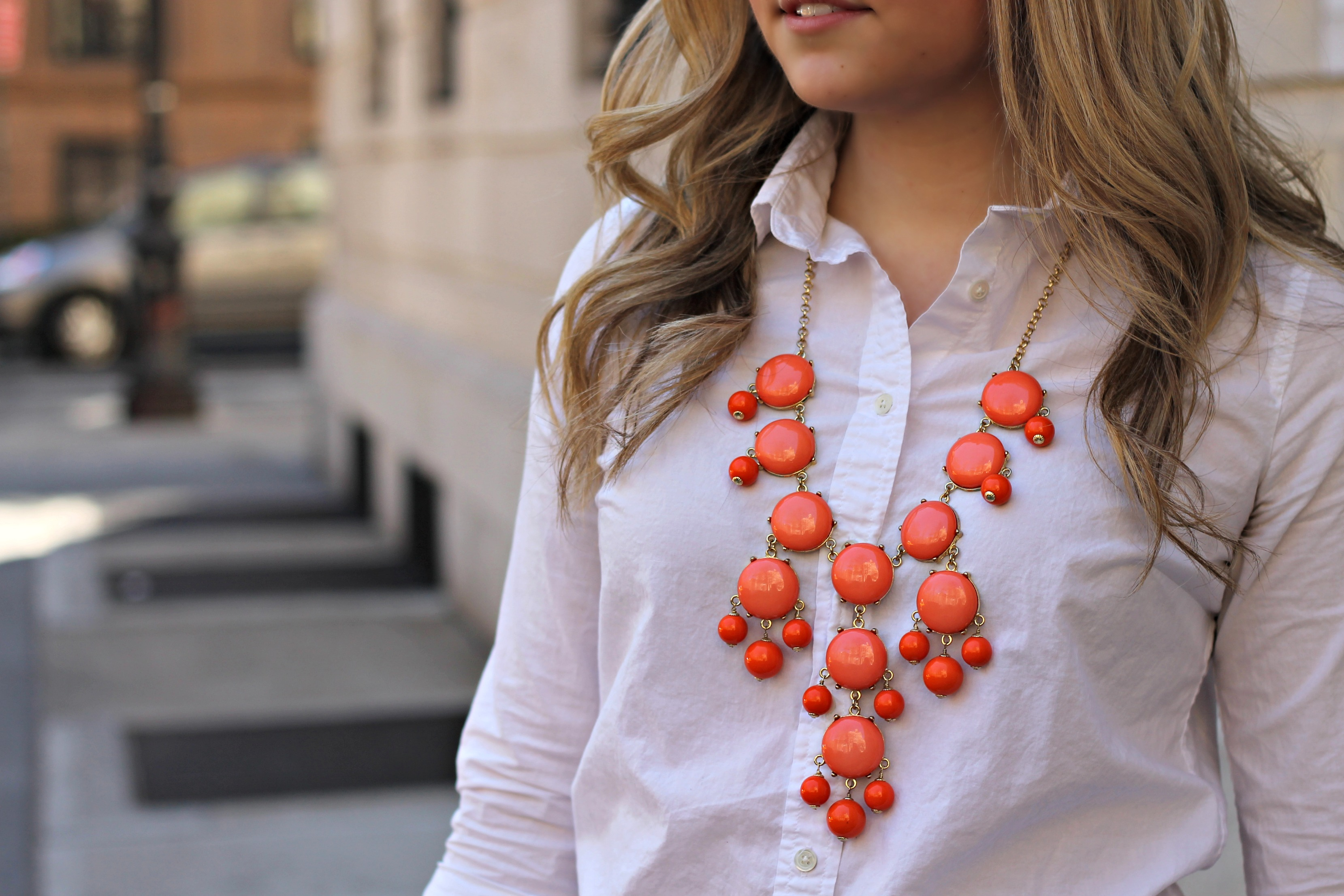 J crew bubble necklace coral orange bows sequins for Jewelry to wear with coral dress