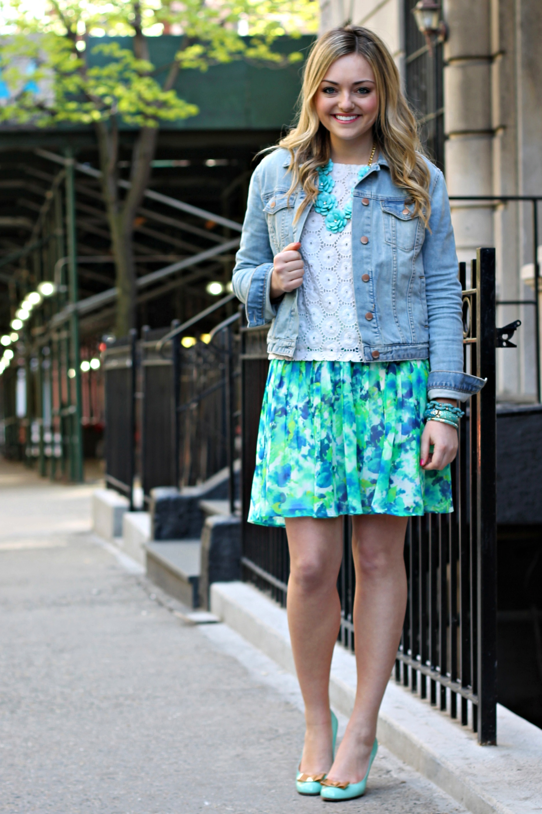 floral skirt denim jacket