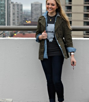 Casual Layering -- Tee Shirt, Chambray Shirt, Army Jacket