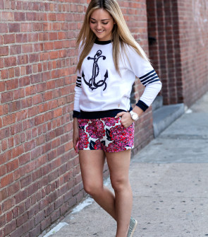 Anchor Sweatshirt + Printed Shorts