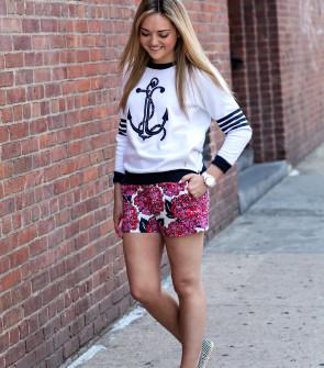 Anchor Sweatshirt + Printed Shorts