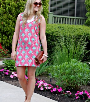 Tracy Negoshian Palm Tree Print Dress