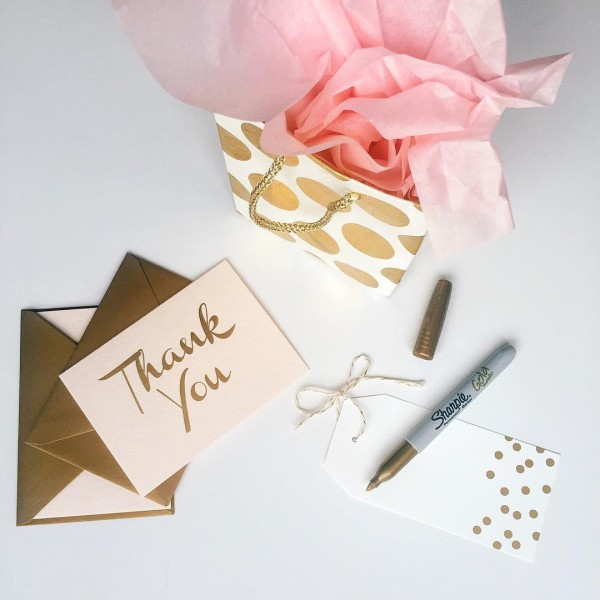 Gold Thank You Notes & Gifts