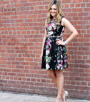Black Floral Dress with Silver Accessories