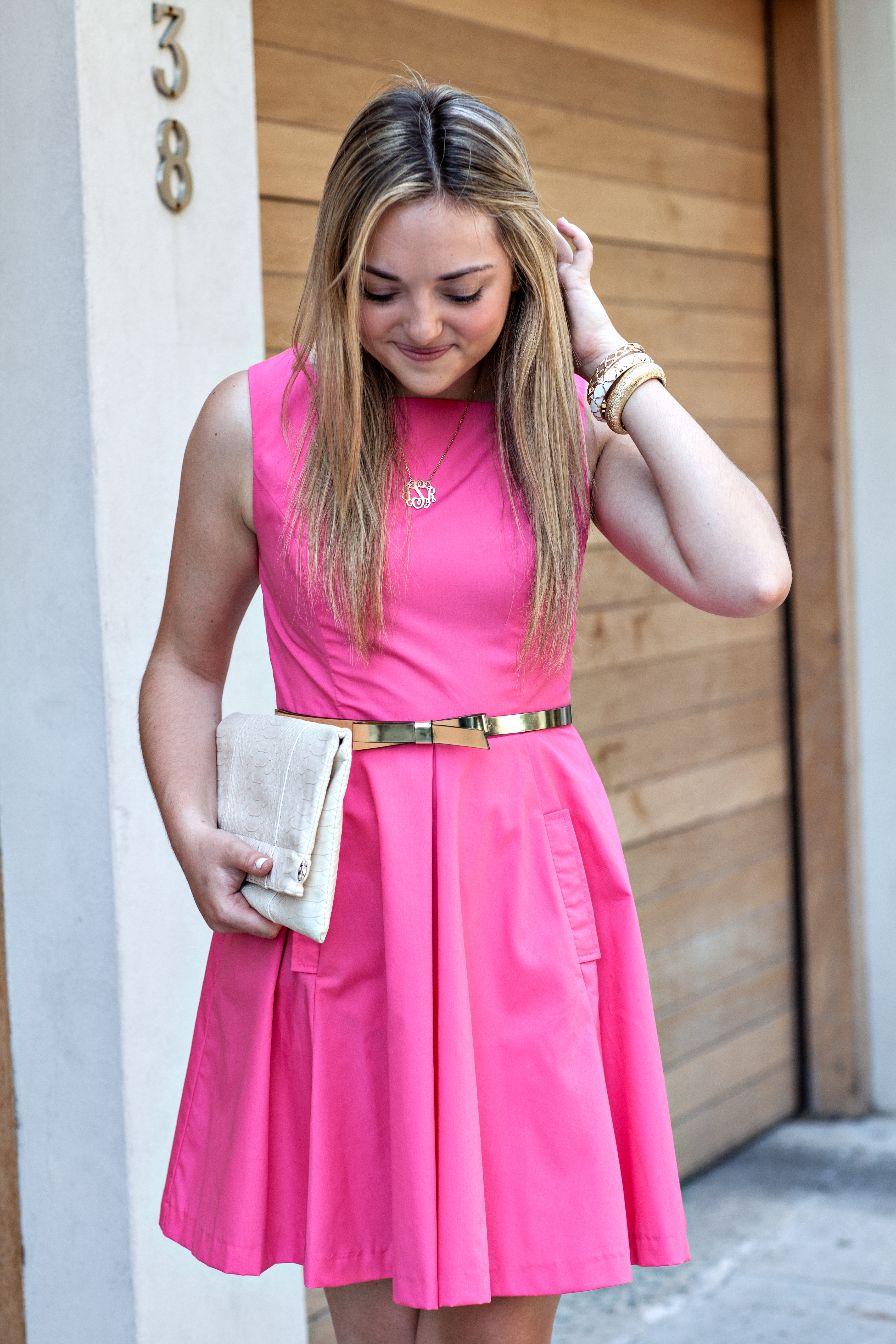 pink dress with gold belt dress uk