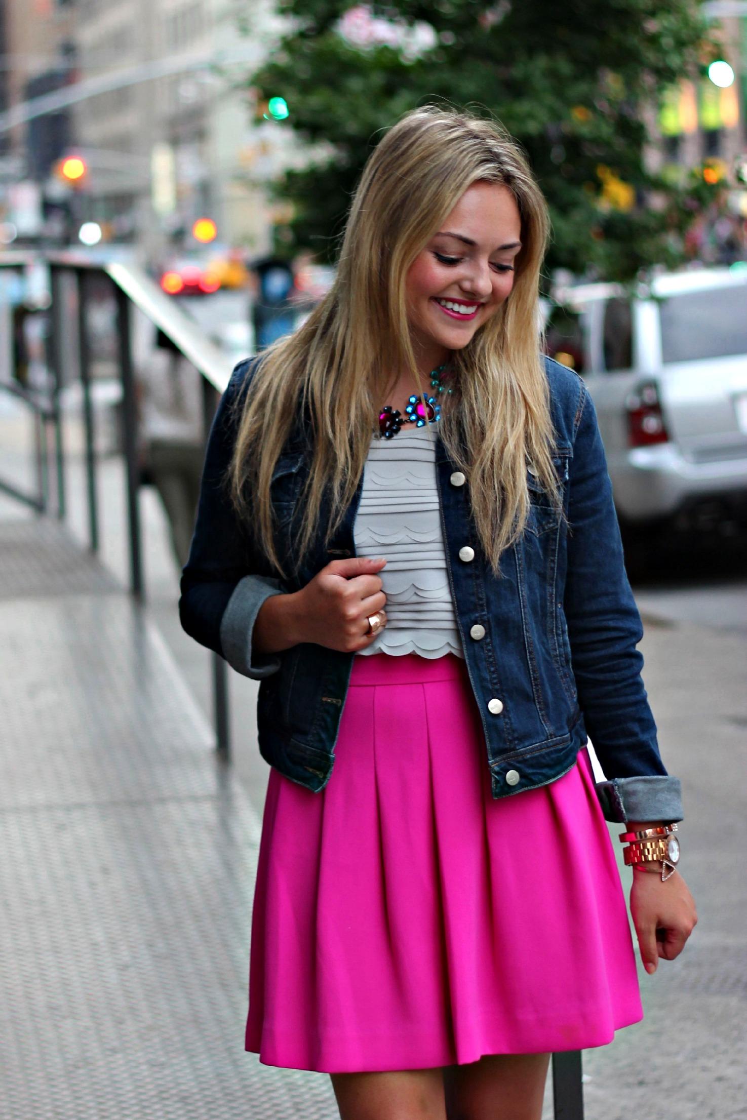 cc0d4742ff Denim Jacket + Pink Skirt — bows & sequins