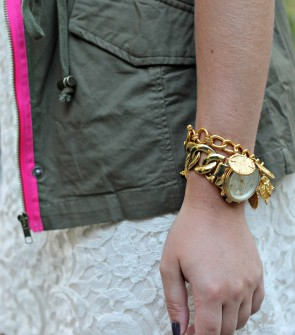 Army Green + Lace + Gold Jewelry