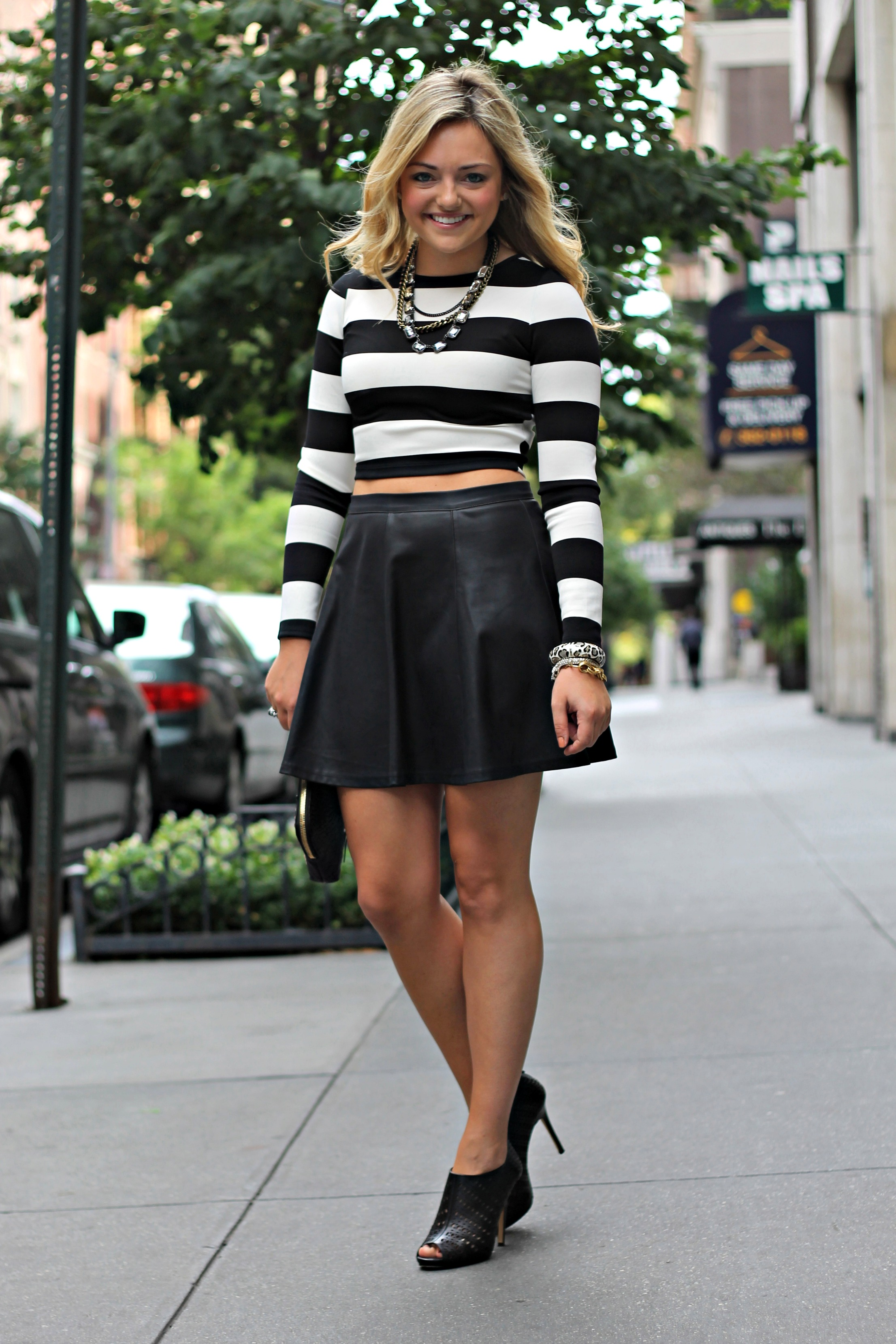 Black leather skirt crop top – Fashionable skirts 2017 photo blog