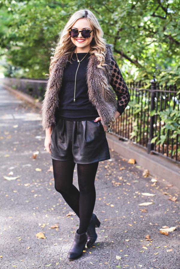 Fur Vest, Faux Fur, Leather Shorts