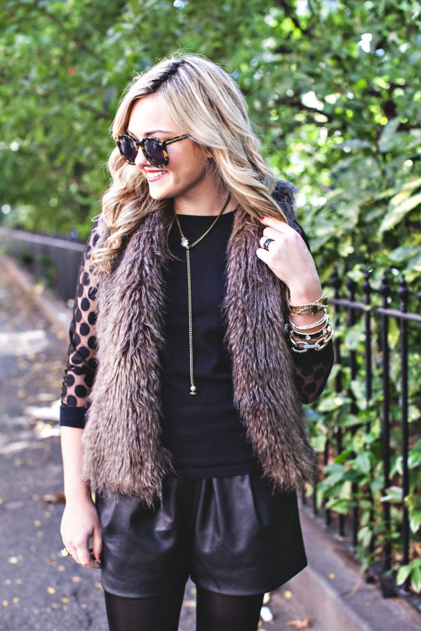 Karen Walker Sunglasses, Faux Fur Vest, Red Lipstick