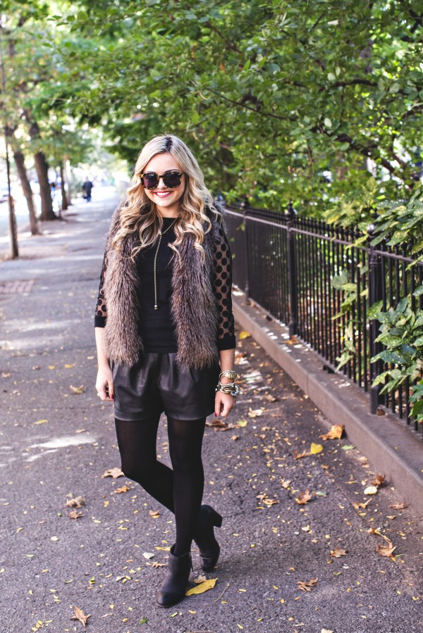 Fall Outfit, NYC, Faux Fur Vest, Leather Shorts, Booties