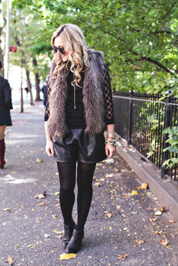 Fall Outfit, Faux Fur Vest, Leather Shorts