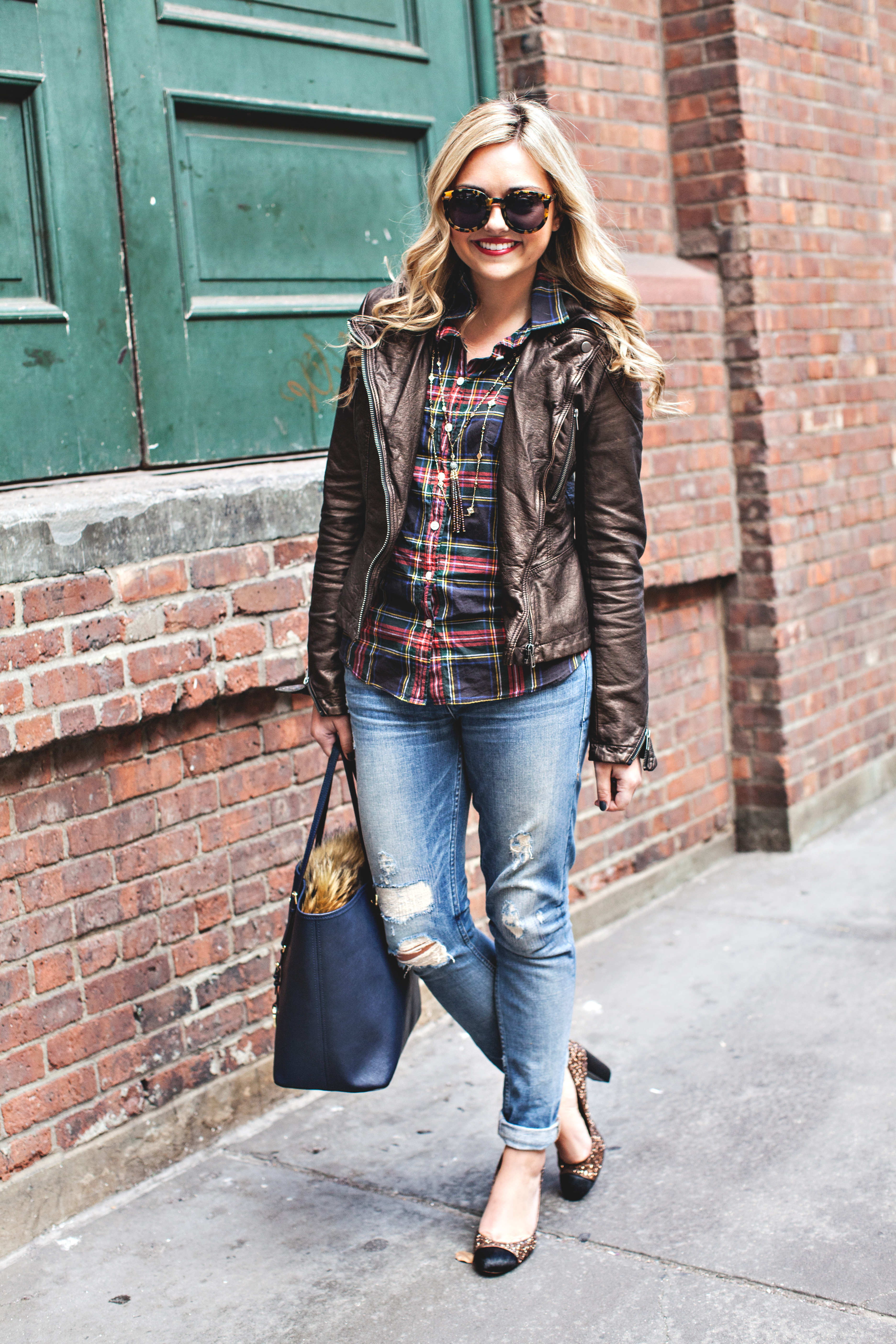 Leather Jacket, Plaid Shirt, Ripped Jeans, Glitter Heels
