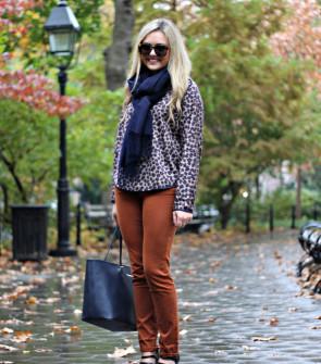 Navy Scarf, Leopard Top, Orange Pants