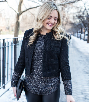 Black Shimmer Tweed Jacket, Gray Sparkle Sweater, Black Leather Pants