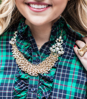 Capwell + Co Statement Necklace with Vineyard Vines Ruffle Plaid Shirt