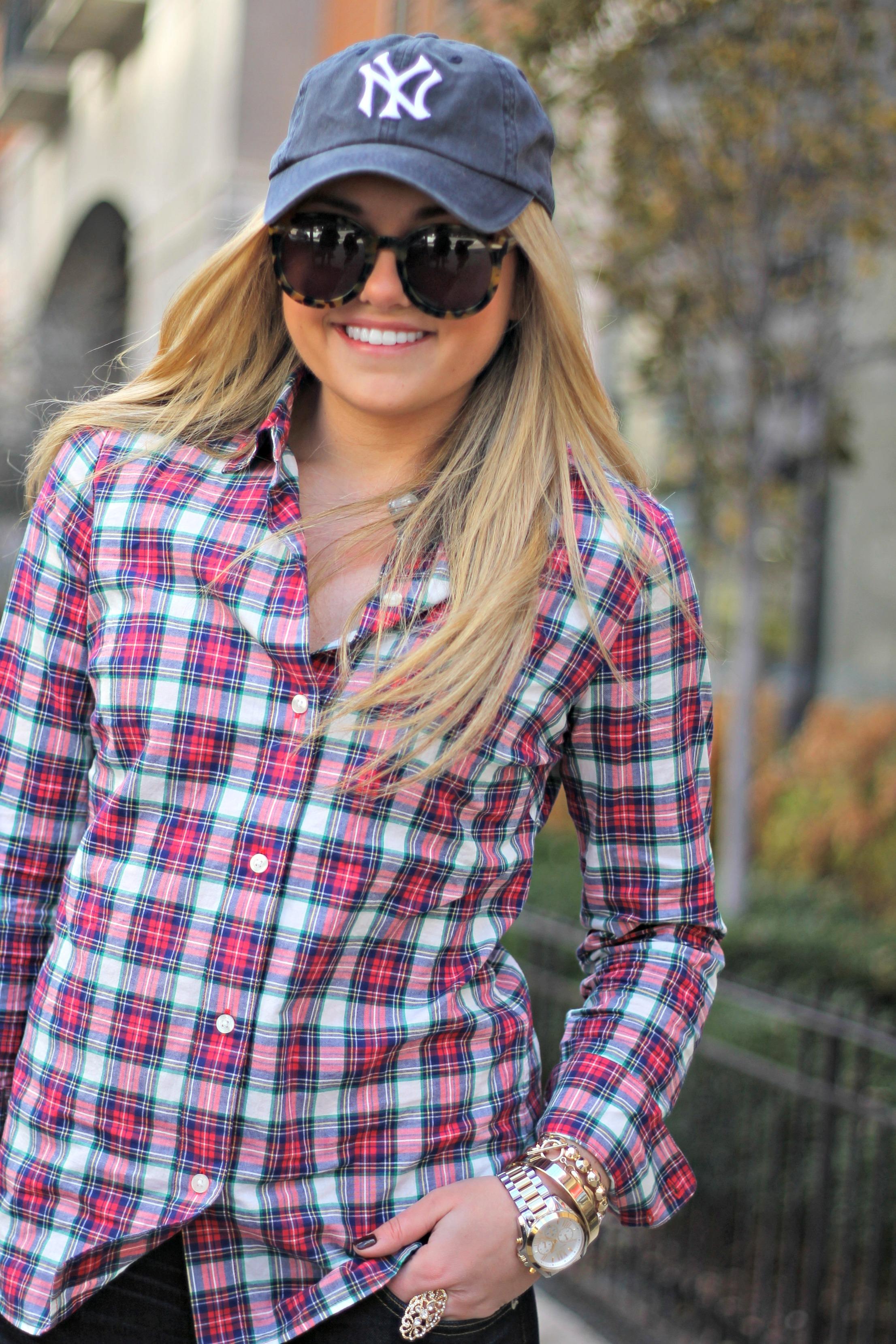 5835a2dcbaa Plaid Shirt   Baseball Cap — bows   sequins