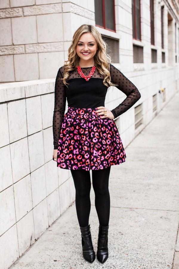 Statement Necklace, Polka Dots, Cheetah Lipstick Print Skirt, Moto Booties