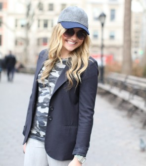 baseball hat, blazer, camo tee, gray denim