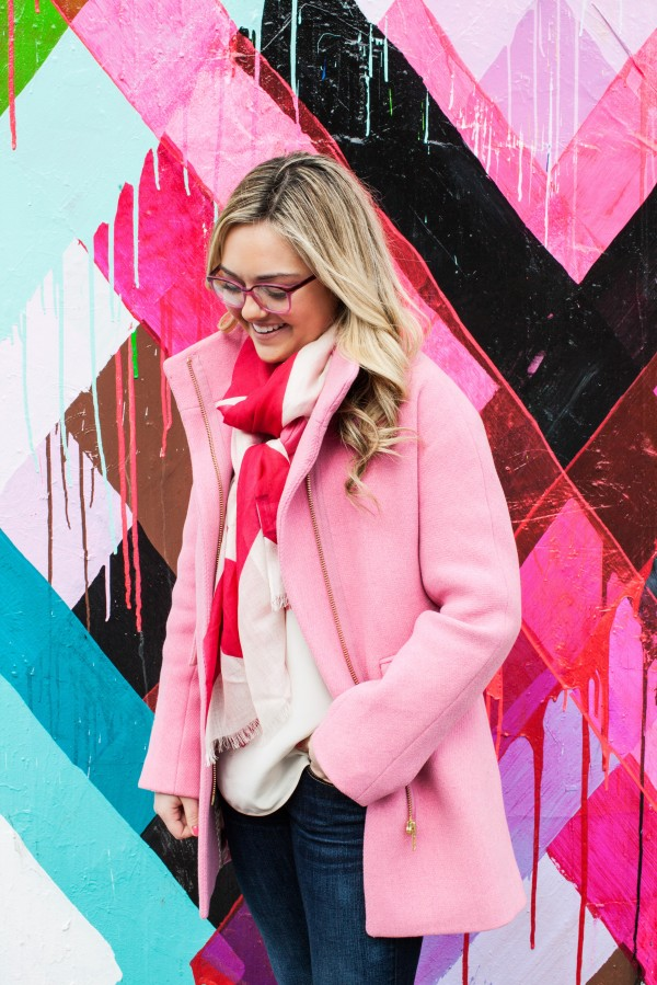 Bows & Sequins styling a pink coat and scarf in New York City.
