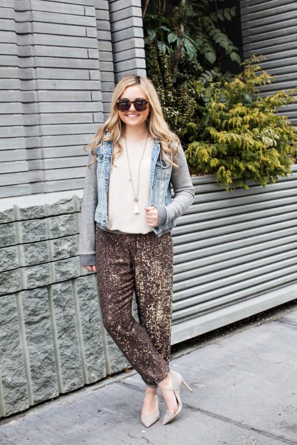 fine pink sequin pants