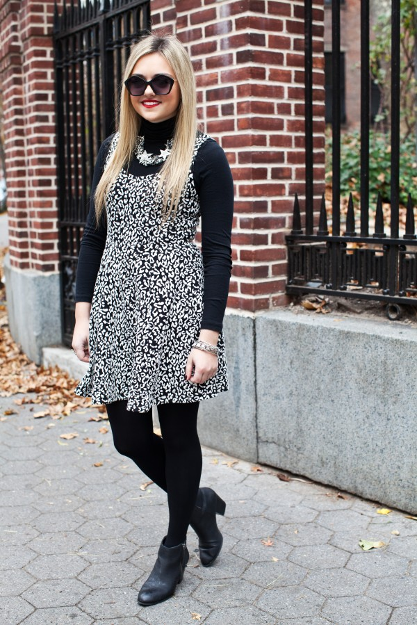 Black And White Dress With Black Turtleneck And Black Tights Bows