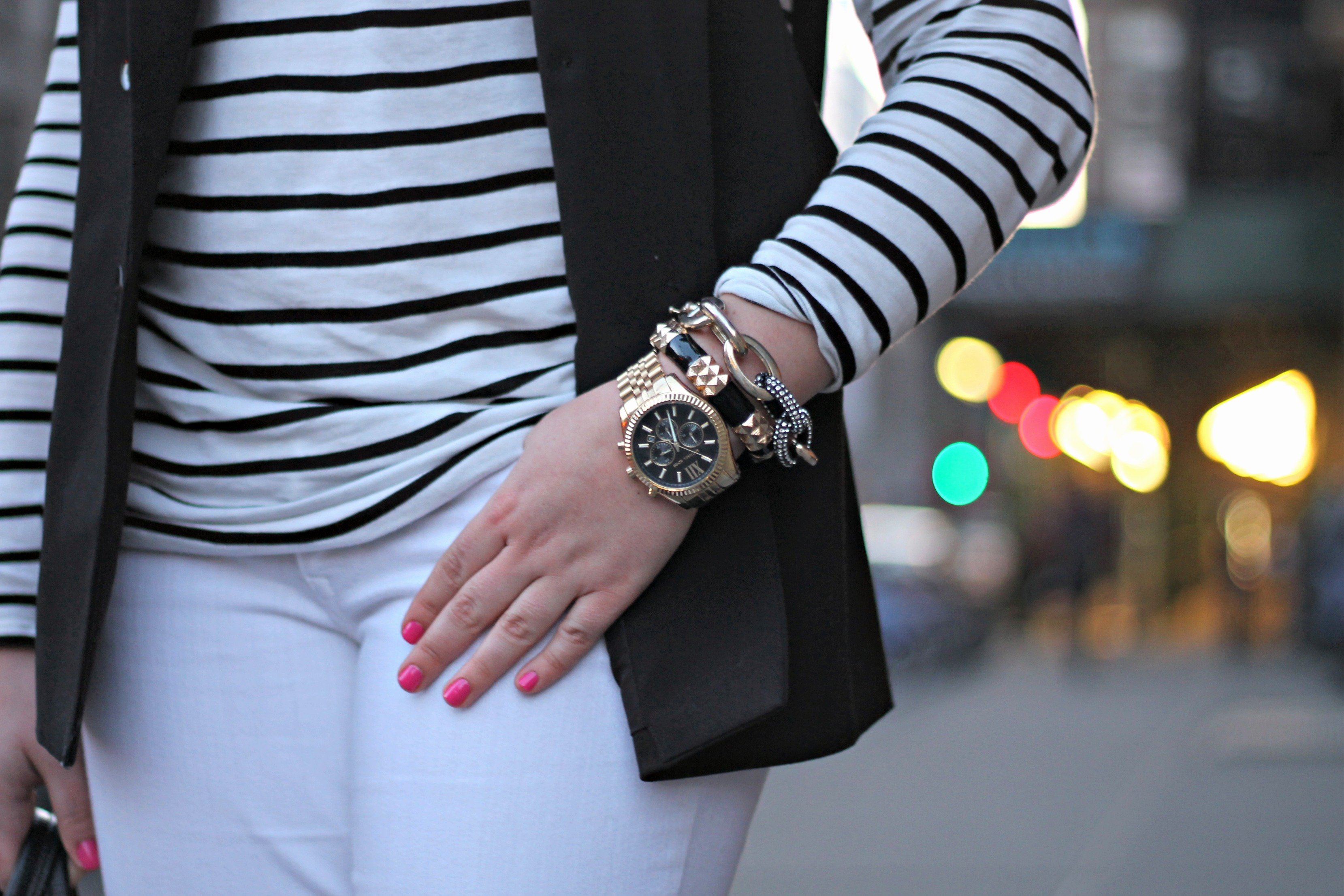 Black and White Outfit with Gold Jewelry, Hot Pink Nail Polish ...