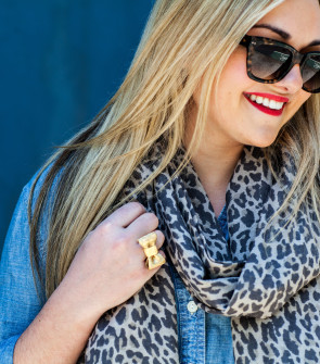chambray shirt leopard scarf kate spade bow ring