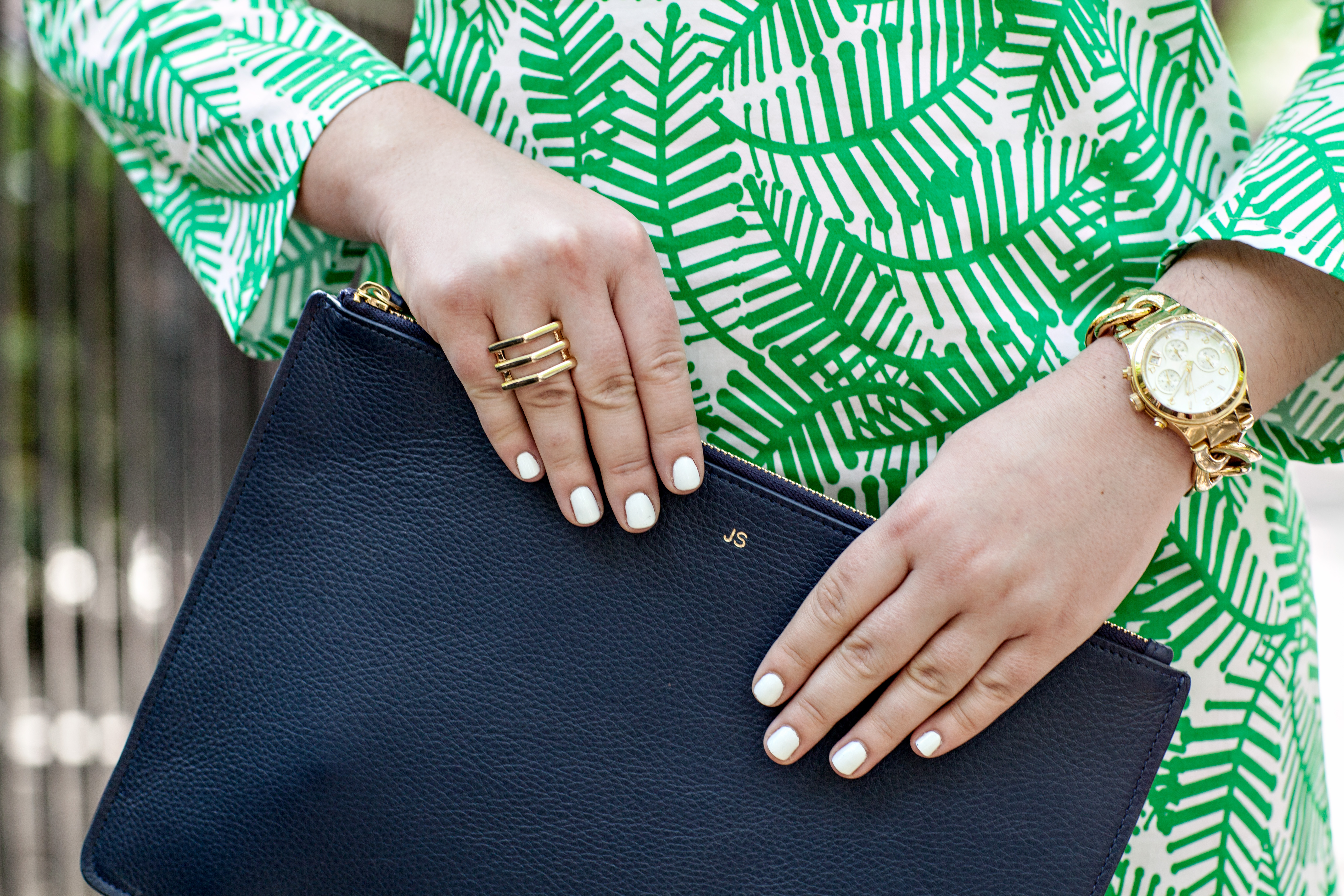 Nail color for white and gold dress