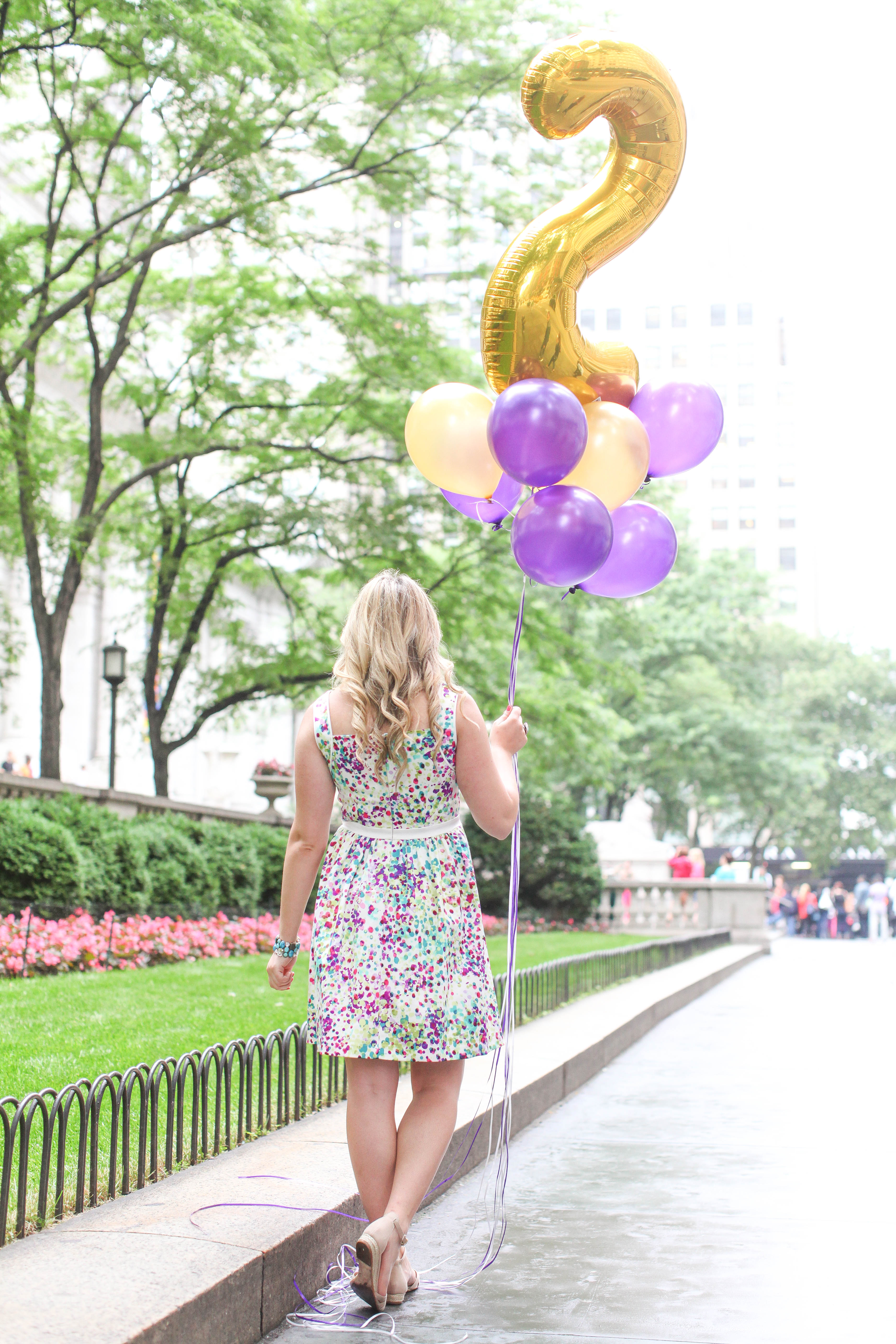 Watercolor Dress Girl With Balloons Bryant Park Nyc