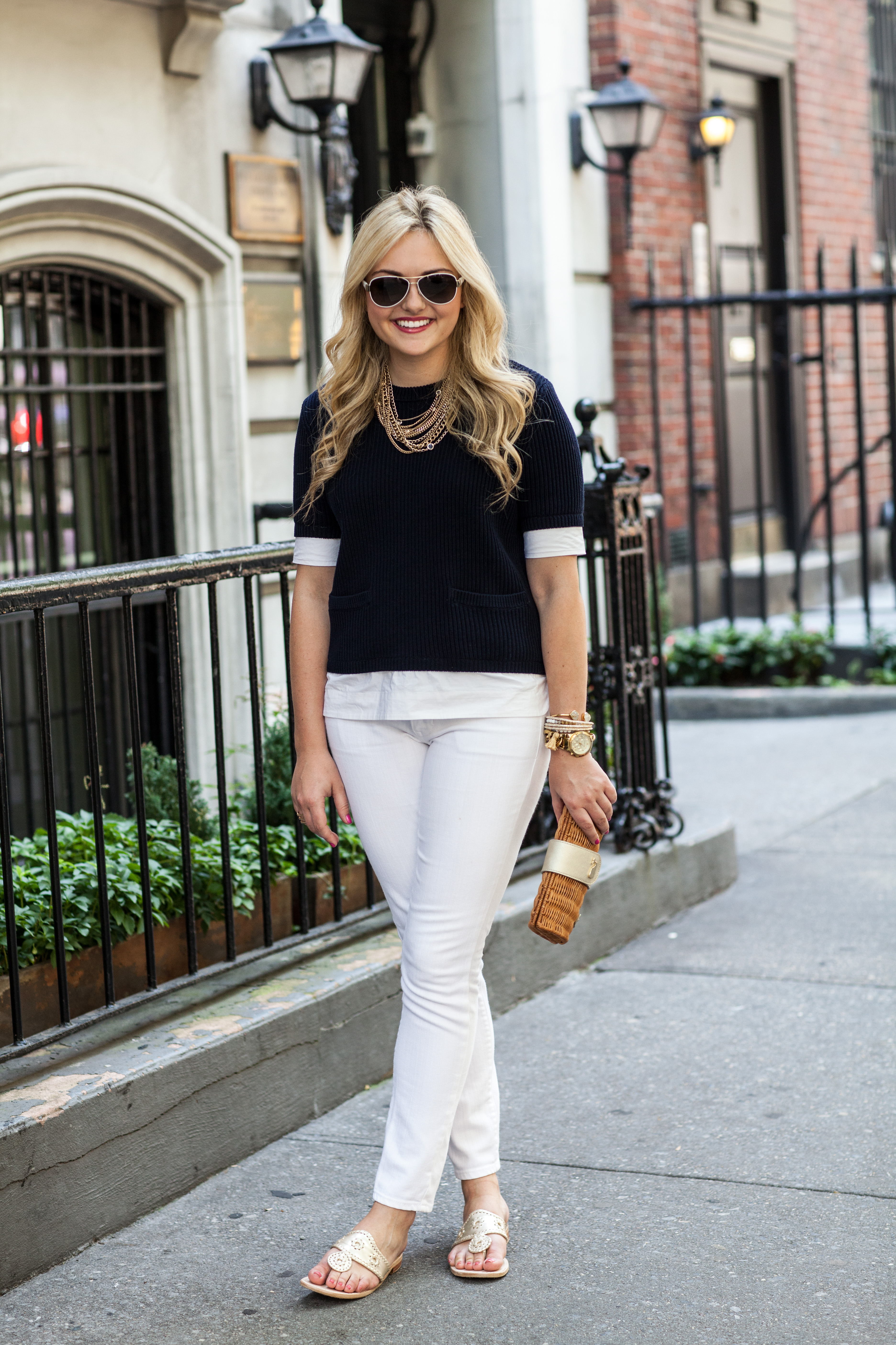 navy sweater, white jeans, jack rogers