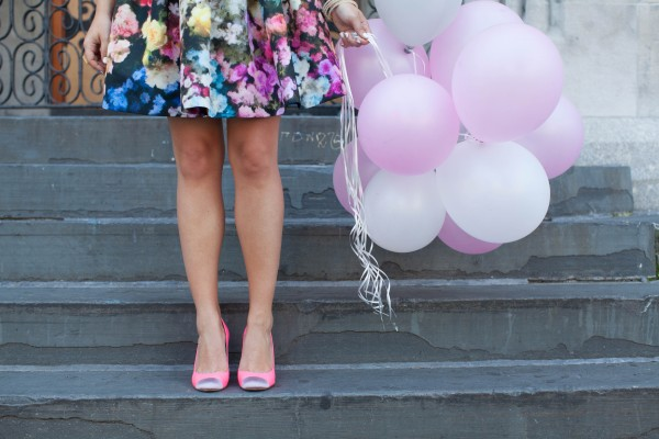 pink balloons, red valentino dress, jcrew pink pumps