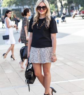 ann taylor top tibi leopard skirt