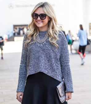 bcbg cropped sweater and skirt