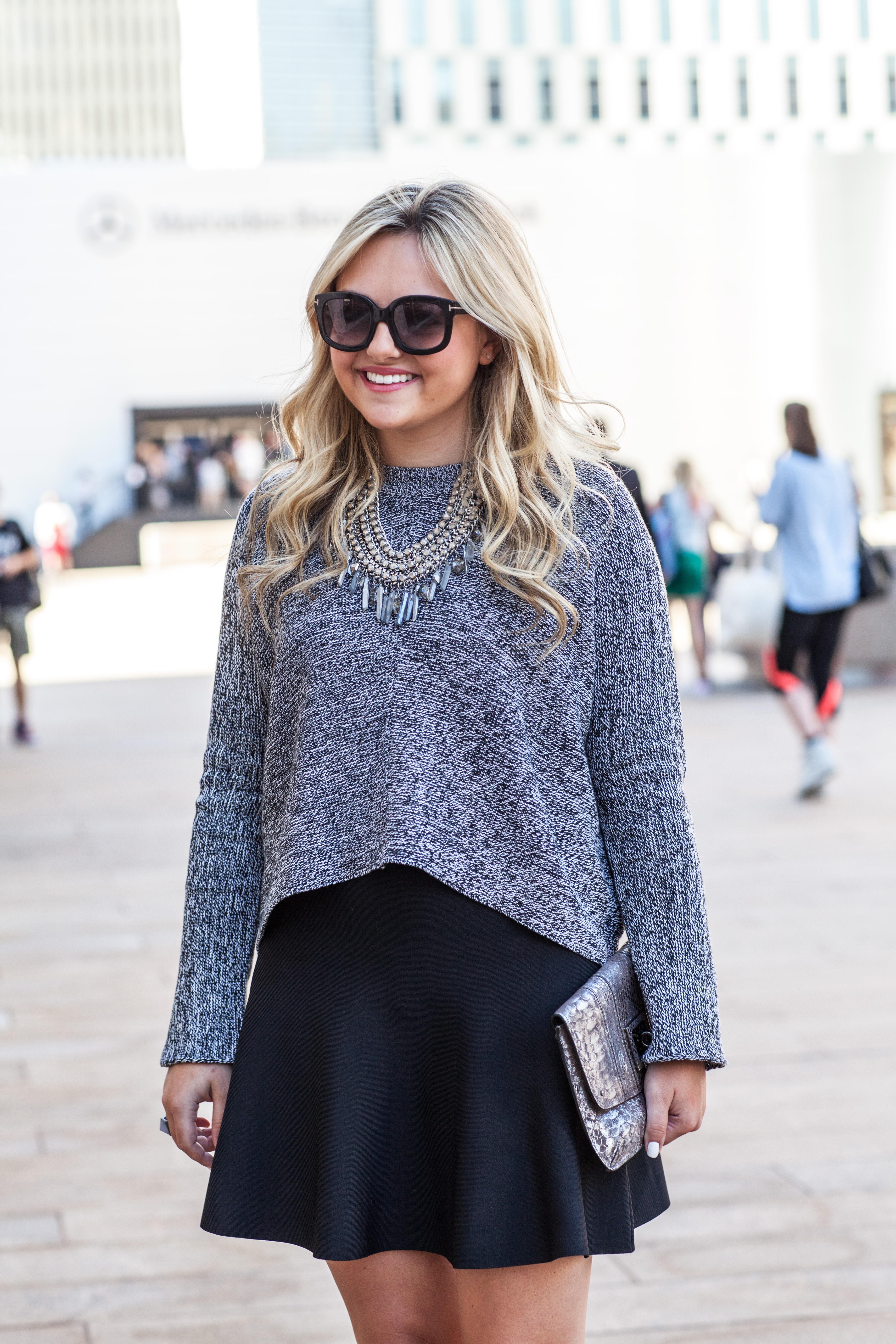 Sweaters & Skirts — bows & sequins