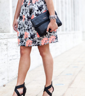 floral dress black strappy sandals
