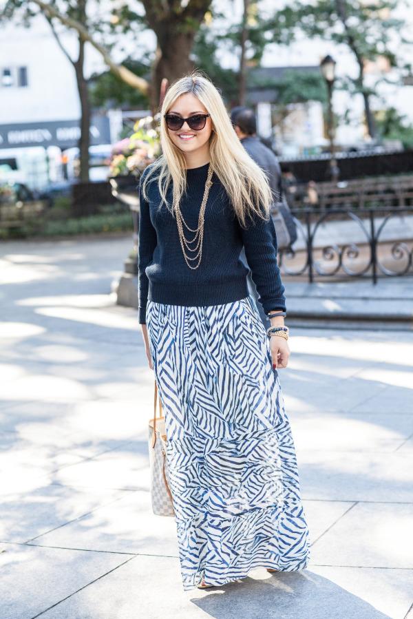 525 navy sweater nicole miller maxi skirt