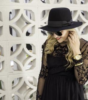 black felt hat with bow