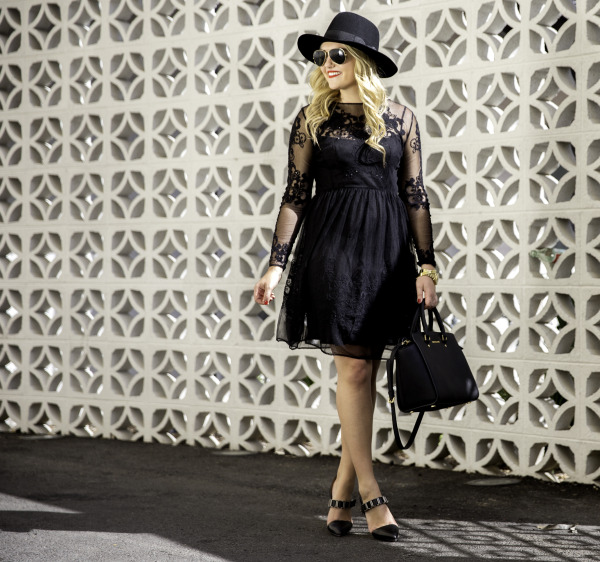 black lace dress and hat