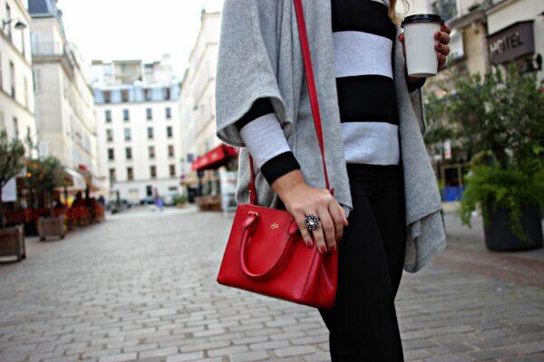 calypso cashmere wrap sweater, ralph lauren red bag