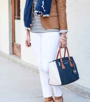 camel blazer, striped tee, white jeans, tan sandals