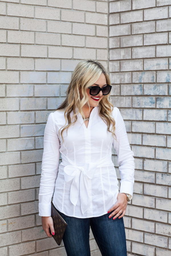 classic white oxford shirt with bow