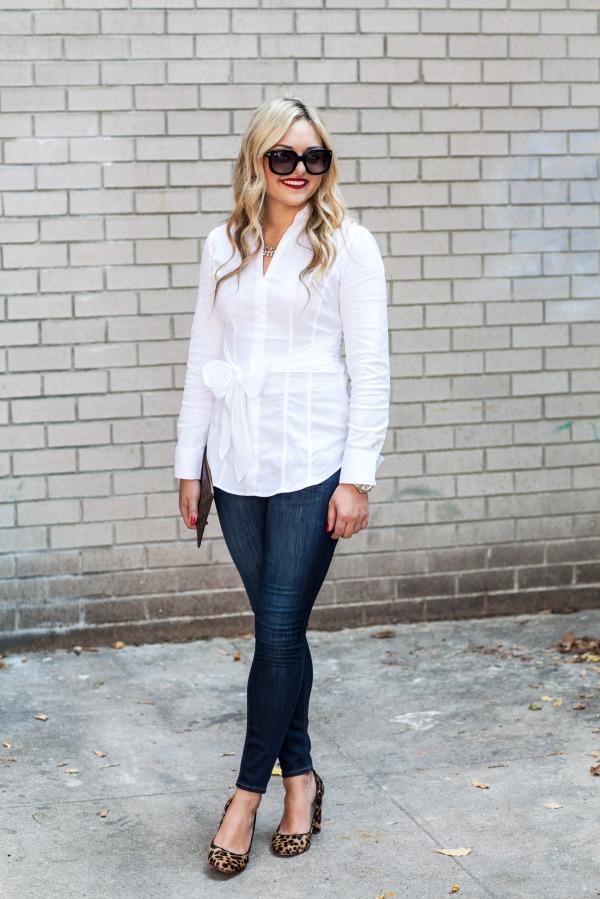 crisp white skirt dark skinny jeans leopard pumps
