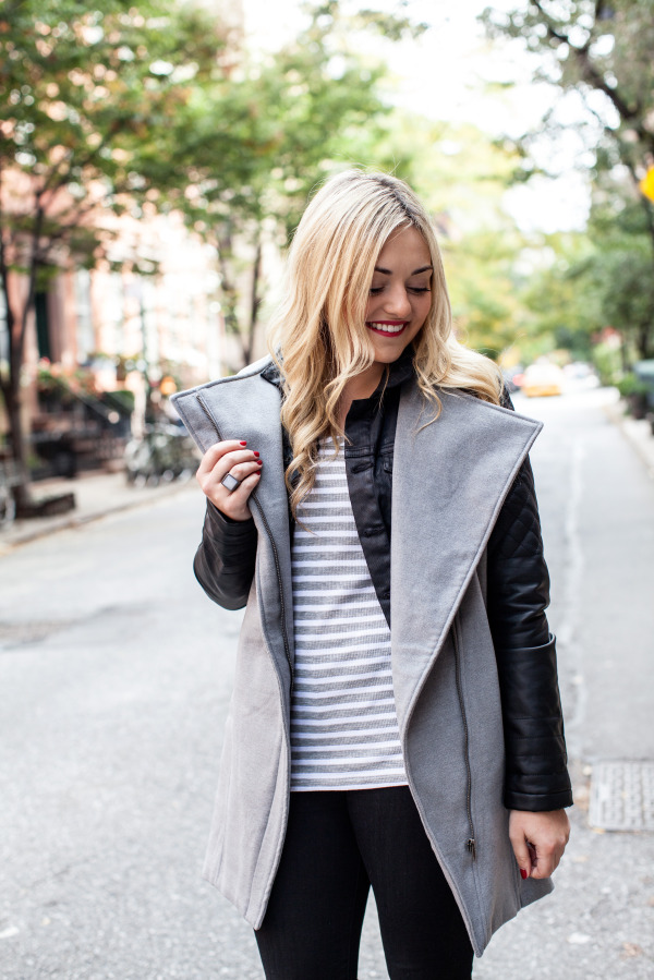 layer a long sleeve stripe tee with a vest and jacket
