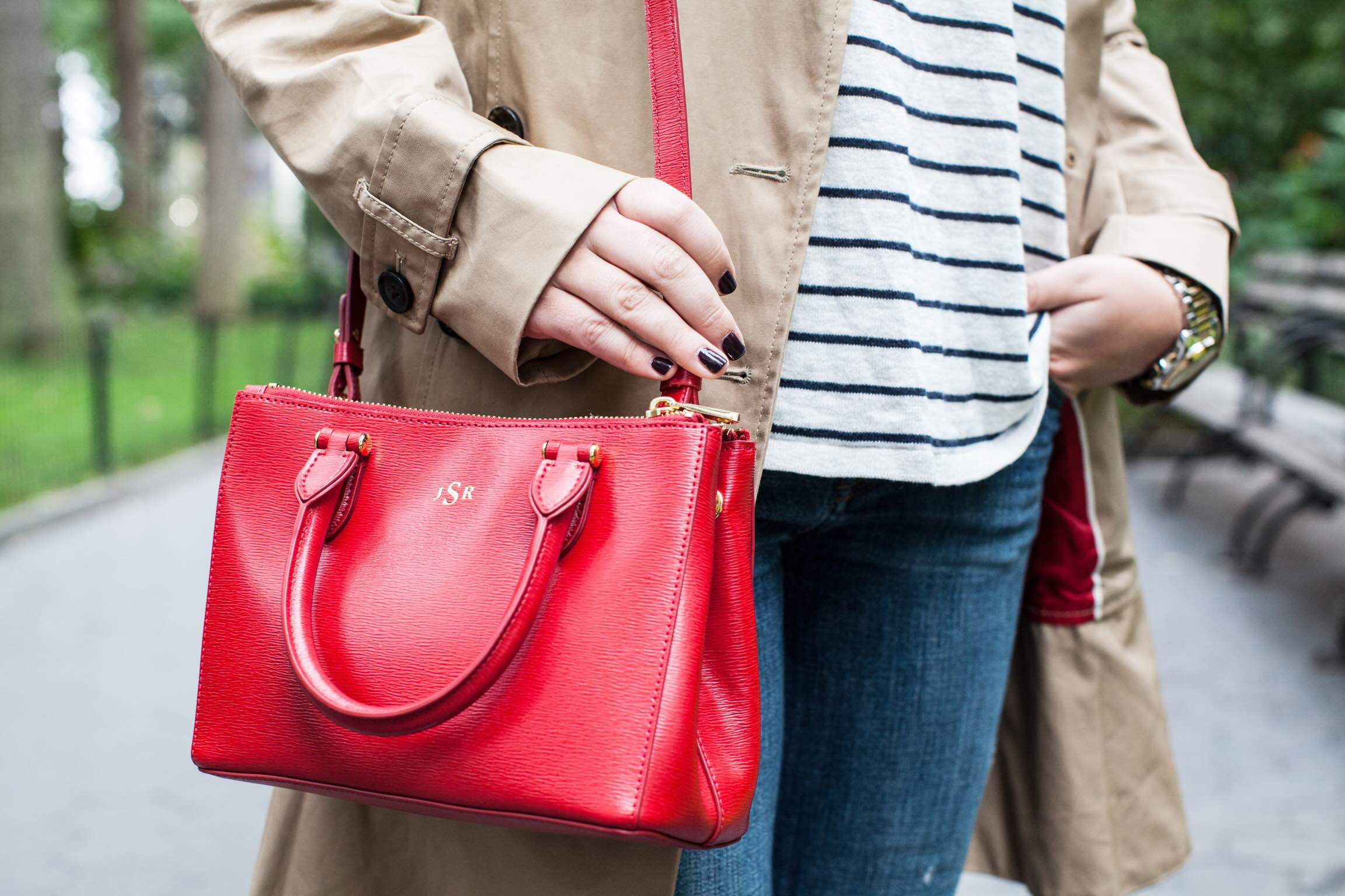 red crossbody bag — bows & sequins