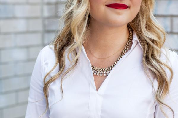 red lip classic white shirt