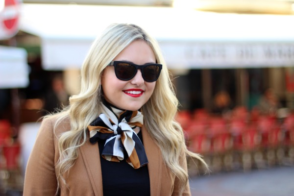 scarf bow tie around neck