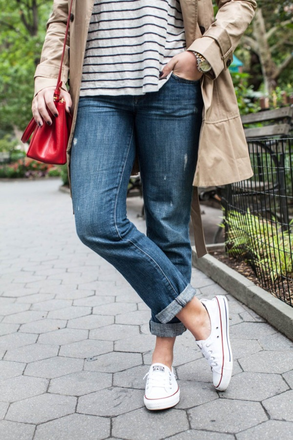 stripe sweater, boyfriend jeans, sneakers