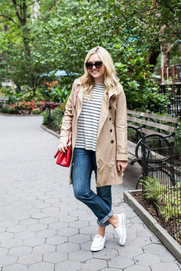 stripe sweater, trench coat, boyfriend jeans, sneakers